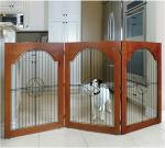 Majestic Pet Free Standing Wood and Wire Pet Gate - Cherry