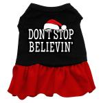 Don't Stop Believin' Dog Dress - Black with Red/Extra Large