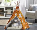 Merry Products Orange Puzzle Medium Pet Teepee
