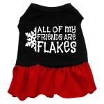 All my friends are Flakes Dog Dress - Black with Red/Extra Large