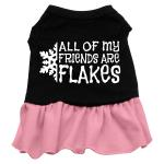 All my friends are Flakes Dog Dress - Black with Pink/XXX Large